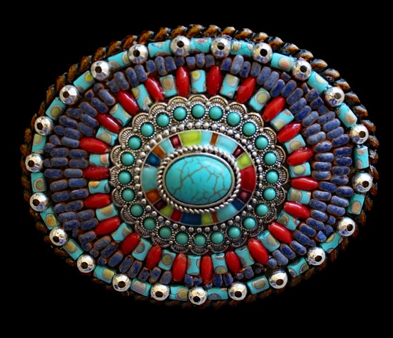 Women's and Men's Southwestern Western Embellished Mosaic Belt Buckle with Turquoise and Coral