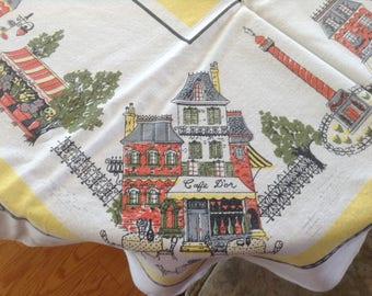 Vintage Linen Tablecloth, French Scenes, Cafe d'Or, Boulangerie, Fleurs, Yellow Centre, Bakery, Flower Shop