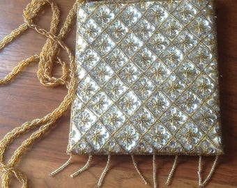 Vintage Beaded Evening Bag, Golden Yellow, Beads and Silvery Sequins, Long Beaded Strap