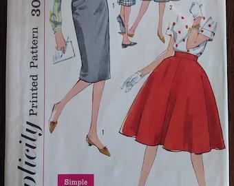 Simplicity 3624 1960 Juniors Full and Slim Skirts Waist 25 Hip 34