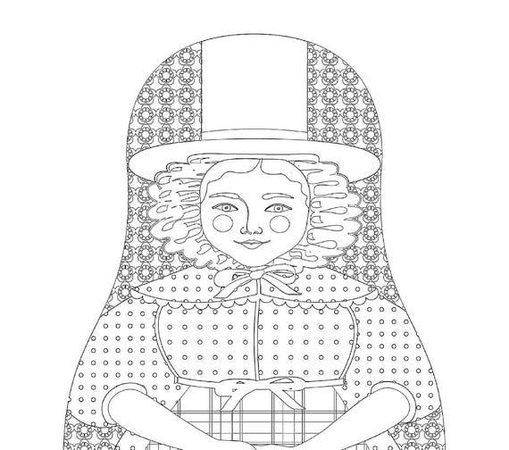 Welsh Matryoshka Coloring Sheet Printable file