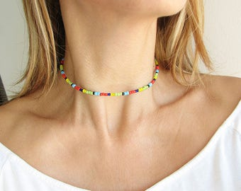 Choker Necklace Beaded Choker Necklace Rainbow Choker