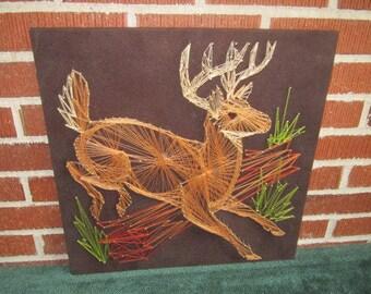 Vintage 1970s Beautiful Leaping Deer Wall Art String Sculpture on Board