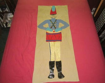 "Vintage Large 58"" Wall Hanging Red and Blue Appliqued Felt SatinToy Soldier"