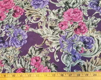 Muted shades of Purple Sage Green Fushia Knit with a waffle texture 1-2/3yd