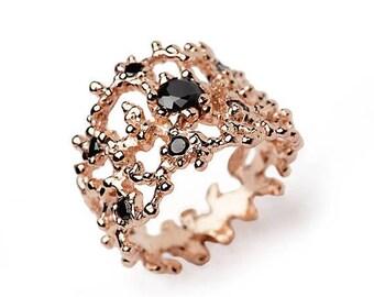 SALE 20% Off - CORAL 14k Rose Gold Wedding Band, Black Diamond Ring, Wide Rose Gold Band, Black Diamond Wedding Band, Unique Rose Gold Ring
