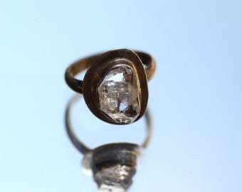 """Herkimer Diamond Sterling Silver Ring. Rough Herkimer Diamond Ring. Silversmith. Contemporary Emgagement Ring. Fine Jewelry. Size: 7 1/4""""."""