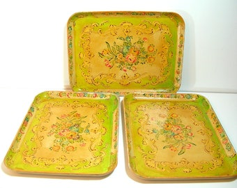Occupied Japan Paper Mache Trays, Set of Three