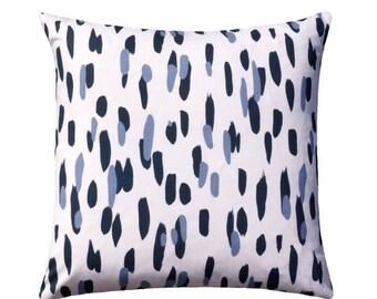 Blue Toss Pillow, Spotted Throw Pillow, 20x20 Robert Allen Throw Pillow, Blue White Brush Strokes Decorative Pillow, Mill Reef - Free Ship