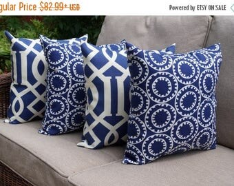 Ring A Bell Navy Blue and White OUTDOOR Decorative Throw Pillow - Set of 4 - Free ship