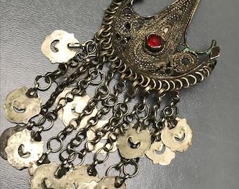 Antique Ottoman era Pin , Brooch , head Pin , Balkans Bulgaria Filigree Coin Head Ornaments Tribal Jewelry