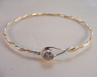 Sterling Silver & Gold Twisted CZ Bangle