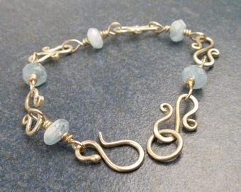 Aquamarine and Sterling Silver Swirl Bracelet