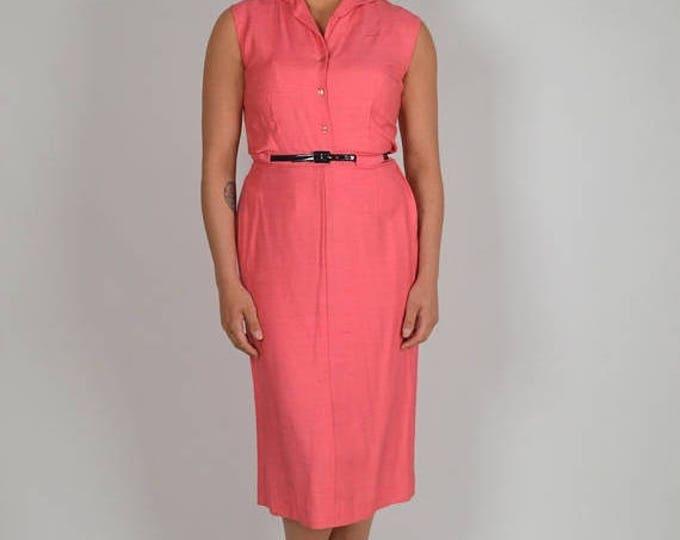 sale Vintage Dress, Coral Dress, 60s Dress, Sleeveless Dress, Top Skirt Set, Pink Dress, Silk Dress, Preppy Dress,  Wiggle Dress, Church Dre