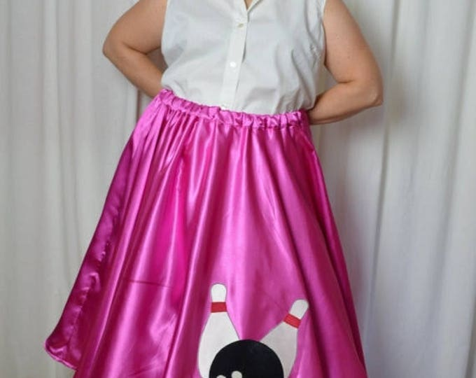 sale Pink Poodle Skirt, Plus Size, Pink Satin, Bowling Ball, Elastic Waist, Curvy Girls, Sock Hop Skirt, 50s Styled Skirt