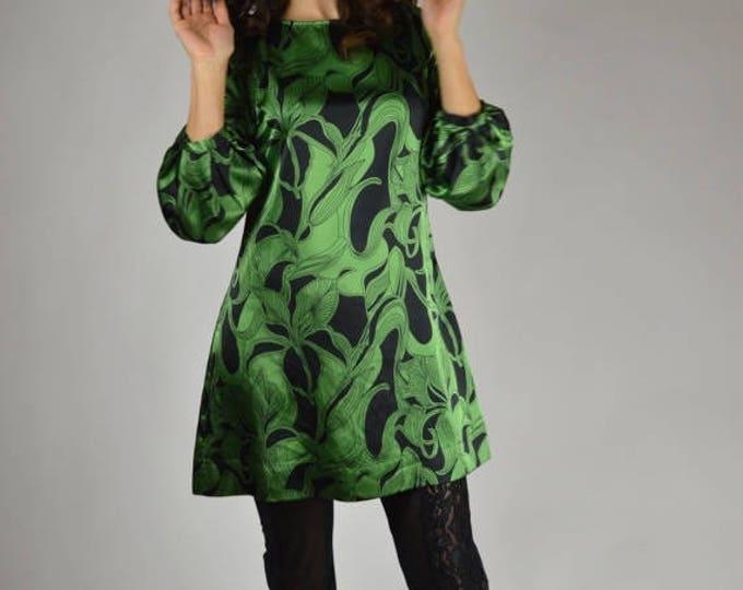 sale Tunic Top, Mini Dress, Black Green, Satin Tunic Top, Women's Tunic Top, Modern Tunic, Mod Tunic, Spring Top, Summer Top, Office Top,