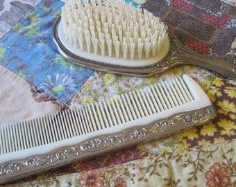 Sweet Vanity Set Vintage Ornate Brush and Comb