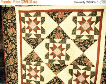Summer Sale Cozy Throw quilt lap quilt sofa quilt wall hanging wheelchair quilt blanket floral tan burgundy