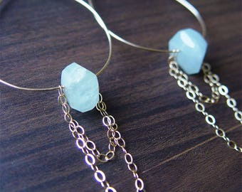 SALE Aquamarine Chain Teardrop Gold Earrings