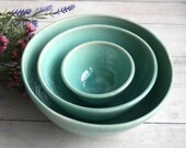 Ceramic Nesting Bowls in Aqua Glaze Set of Three Stacking Bowls Handcrafted Wheel Thrown Made in USA