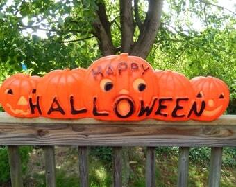vintage Halloween blow mold, large 5 pumpkin blow mold, Dan Featherstone, Halloween decor