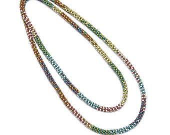 Long Beaded Rope, Turquoise and Green Rope, 48 Inch Rope, Colorful Bead Rope, Handmade Gift