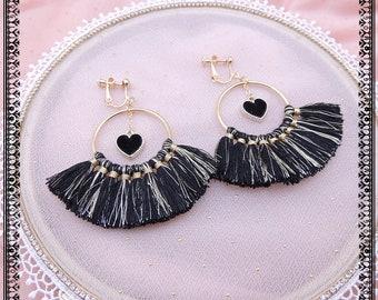 Handmade Tassels earrings ear clips