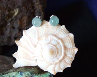 Green 6mm Aventurine Stud Type Earrings Earings Titanium Posts and Clutches Hypo Allergenic Handcrafted Vitality