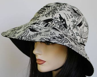 Reversible Cottage Hat wide brim sun hat in bold Alice in Wonderland print plus adjustable fit or chinstrap great for boating