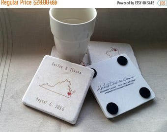XMASINJULYSale Custom State Drink Coasters - Virginia State Outline - Personalized Home Decor - Set of 4