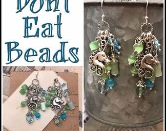 Blue / Green Unicorn earrings #17july795