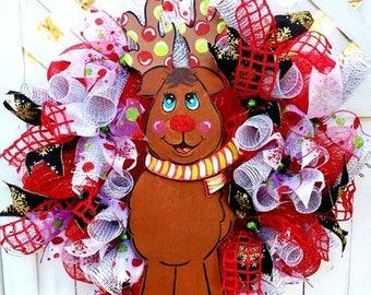 SALE- Rudolph the Red Nose Reindeer - Welcome Door Wreath!