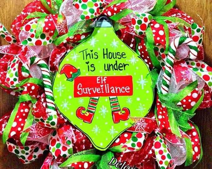 SALE- Elf Surveillance for your Home Bulb Candy Canes Glitter Door Wreath!