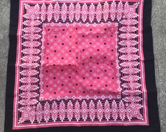 The Vintage Black and Pink Floral Paisley Cotton Bandana Hankerchief Scarf