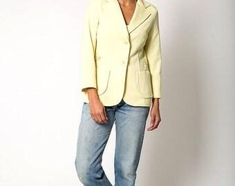40% OFF The Vintage Yellow Wool Blend Utility Blazer Jacket
