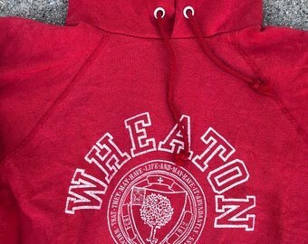 The Vintage Wheaton College Red 50/50 Hooded Sweatshirt