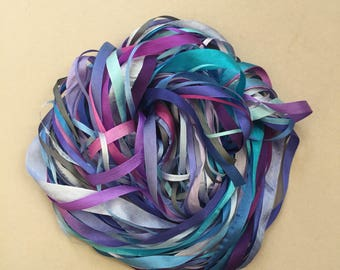 Silk Ribbon Remnants - Blue and Purple