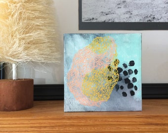 Painting - Coral and yellow Geometric Abstract Art - Original Acrylic Painting on Canvas, Happy Art Decor