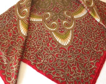 Silk Scarf Red Paisley with Green and Gold