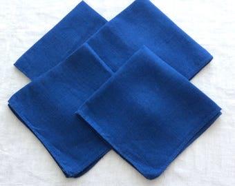 4 Blue Linen Napkins French Blue Cobalt 12 Inches