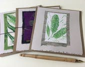 Willow Catkin Cards, hand-printed cards, original art cards, block-printed willow catkins, folded card with kraft envelope, botanical prints