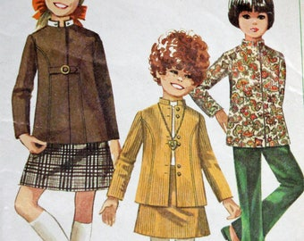 Vintage 1960s Sewing Pattern, Simplicity 7923, Girls' Skirt, Bell-Bottom Pants and Nehru Jacket, Detachable Collar, Girls' Size 10.