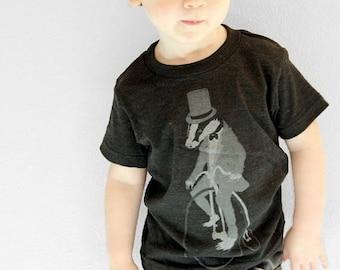 SUMMER SALE Badger on a Pennyfarthing Bicycle- Kids T Shirt, Children Tee, Tri Blend Tee, Handmade graphic tee, sizes 2-12