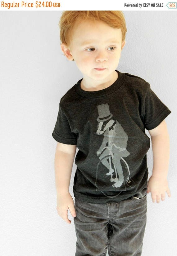 SUMMER SALE Badger on a Pennyfarthing Bicycle- Kids T Shirt, Children Tee, Tri Blend Tee, Handmade graphic tee, sizes 2-12