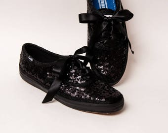 Tiny Sequin - Starlight Keds Brand All Black Sneaker Canvas Tennis Shoes with Satin Ribbon Laces