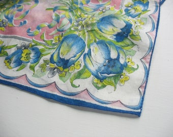 Vintage Handkerchief, Hankie, Tulip, Floral, Sharp Colors, Pink, Yellow, Green, Blue, White, 12.5x11, Cotton, Printed