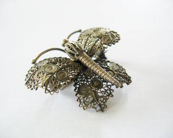 Filigree Butterfly Brooch, Cannetille, Silver, 1950's, Steampunk Style, Fashion Pin, Butterfly, Texture, Detail