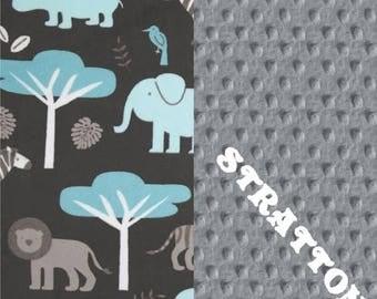 SALE Toddler Blanket // 48 x 60 Minky Baby Blanket, Blue Gray Personalized Baby Blanket // Minky Throw Blanket // Zoo Animals Blanket