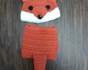 Baby Fox crochet costume, Newborn to 3 Months,  3 to 6 Months, 6 to 12 Months,  Photo Prop