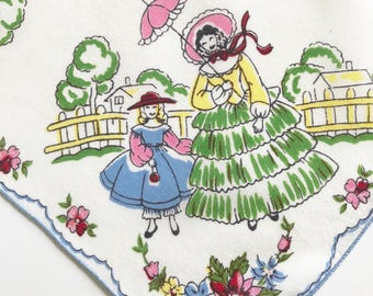 Handkerchief Old Fashioned Southern Charm Victorian Scenes Novelty Hankie